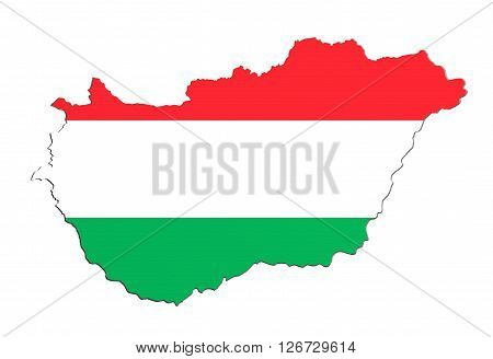 Silhouette Of Hungary Map With Flag