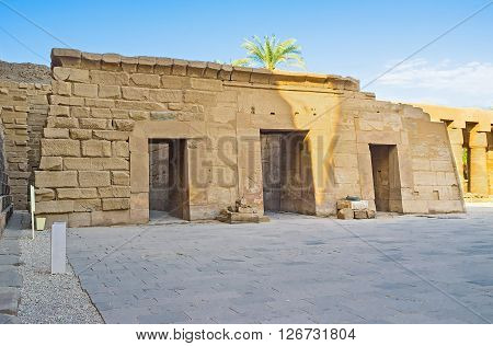 The ruins of the tiny Temple of Seti II (Sethos) located in the courtyard between first and second Pylon of Karnak Temple in Luxor Egypt.