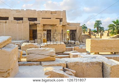 The Karnak Temple is the large archaeological complex consisiting of many sanctuariums of different gods and pharaohs Luxor Egypt..