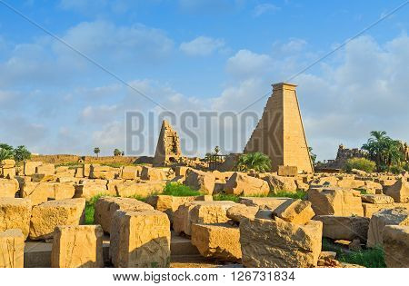 The Karnak Temple is the large archaeological complex famous for many pylons built by different pharaohs during the long history of ancient Egypt Luxor.