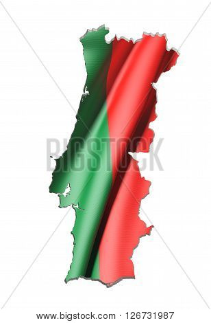 Silhouette Of Portugal Map With Flag