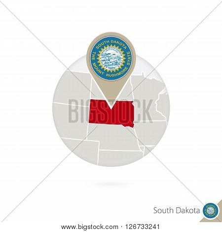 South Dakota Us State Map And Flag In Circle. Map Of South Dakota, South Dakota Flag Pin. Map Of Sou