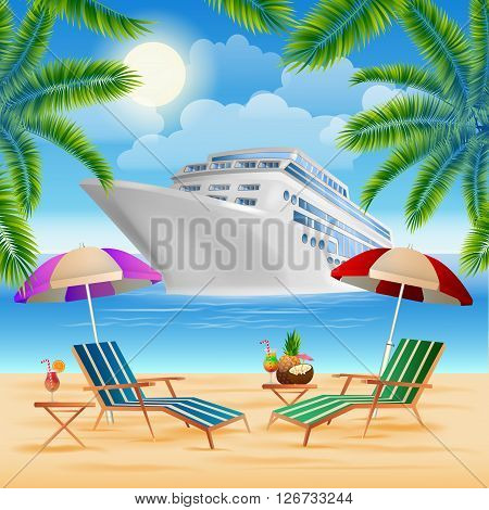Cruise Ship on Exotic Island with Palm Trees. Vacation and Travel Vector illustration