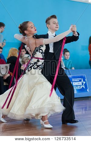 Minsk Belarus -April 3 2016: Danilevich Kevin and Dorosh Dariya Perform Youth-2 Standard Program on the IDSA Championship Kinezis Star Cup - 2016 in April 3 2016 in Minsk Republic of Belarus