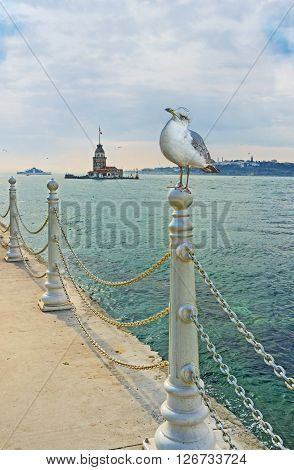 The view on the Maiden's Tower from the Uskudar embankment Istanbul Turkey. poster