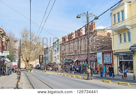 ISTANBUL TURKEY - JANUARY 21 2015: The Fatih district is one of the most visitable tourist areas in city on January 21 in Istanbul.