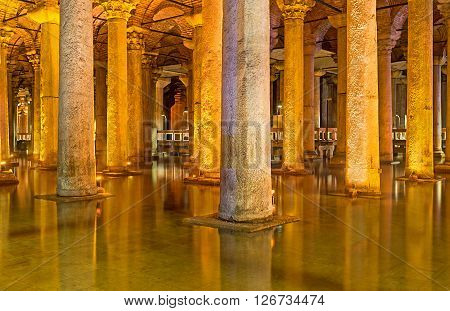 ISTANBUL TURKEY - JANUARY 21 2015: The ancient Basilica Cistern is the waterproof receptacle for holding water on January 21 in Istanbul.