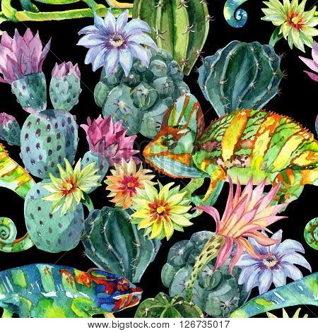 Watercolor seamless pattern with cacti and chameleons. Exotic cactus background