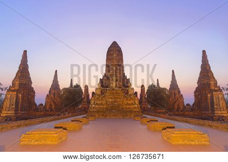 the ancient temple in the light with the twilight scene at the Ayuthaya world heritageThailand