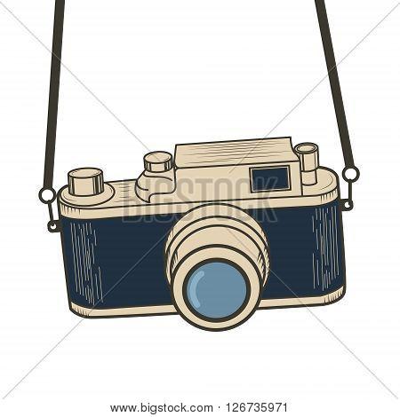 Illustration of retro camera. Old camera with strap. Design element in vector.