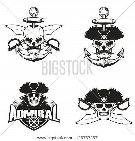Set of pirate skulls. Admiral logo. Skull on anchor with two cross swords. Design elements for logo label badge. Vector illustrations.
