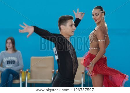 Minsk Belarus -April 3 2016: Adamovskiy Vladislav and Valashimas Stefaniya Perform Juvenile-2 Latin-American Program on IDSA Championship Kinezis Star Cup - 2016 in April 3 2016 Minsk Republic of Belarus