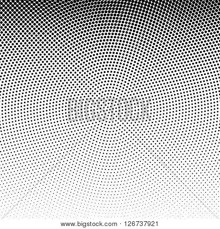 Vector radial dotted halftone background. Dotted monochrome background. Design element in vector.