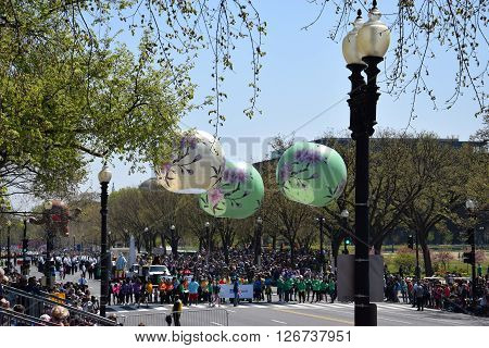 WASHINGTON, DC - APR 16: Balloons at the 2016 National Cherry Blossom Parade in Washington DC, as seen on April 16, 2016. Thousands of visitors gathered to attend this annual event.