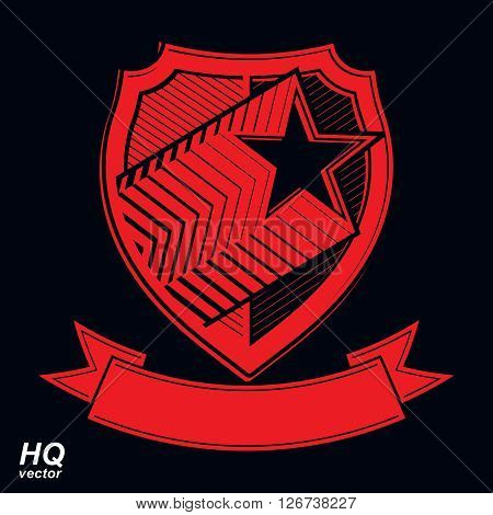 Vector military shield with pentagonal comet star protection heraldic sheriff blazon. Ussr communistic conceptual symbol. Forces graphical coat of arms. Soviet Union theme.