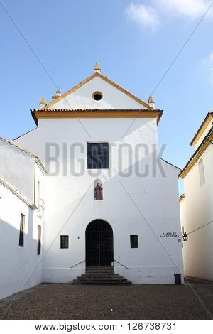 Facade of Los Dolores Church in Cordoba - Spain.