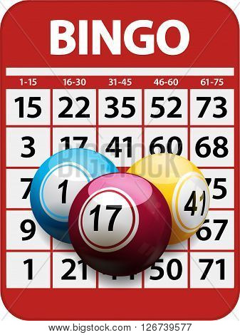 Bingo Card Red Background with 3D Bingo Balls