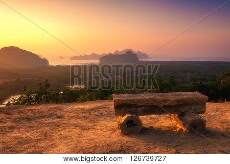 Beautiful sunrise landscape with many island at Phang nga province, Thailand.