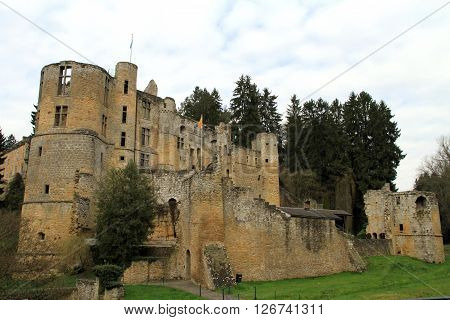 Castle in the village of Beaufort in Luxembourg
