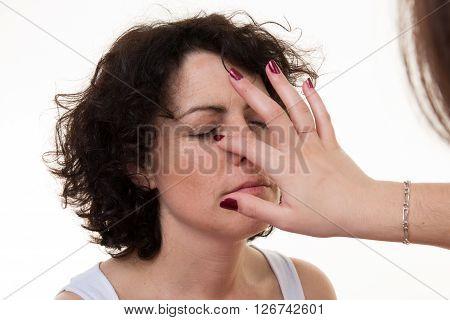 Makeup Artist At Work. Middle-aged Model, Makeup.