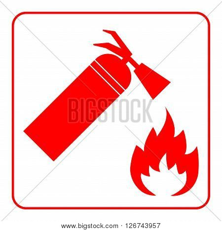 Fire extinguisher icon with flame. Extinguishing sign. Symbol of safety security protection and emergency danger alert firefighting. Red element isolated on white background. Vector illustration