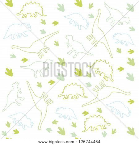 Vector illustration. Seamless ornamental background made of silhouettes of dinosaurs of different species on a light background.