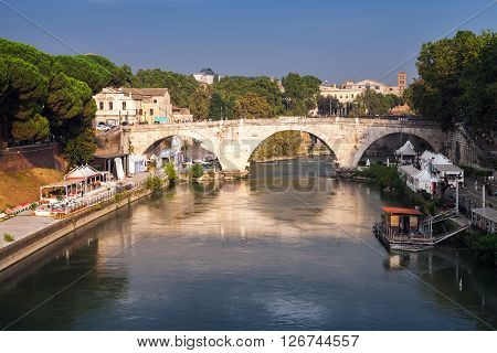 Ponte Cestio. Roman Bridge In Rome, Italy