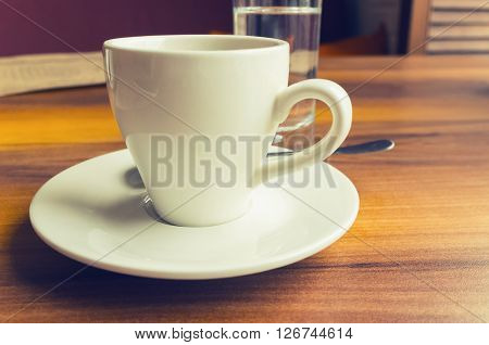 Freshly Brewed Coffee In A White Cup, Retro