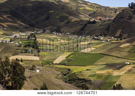 Zumbahua farms and crops in the province of Cotopaxi, Ecuador