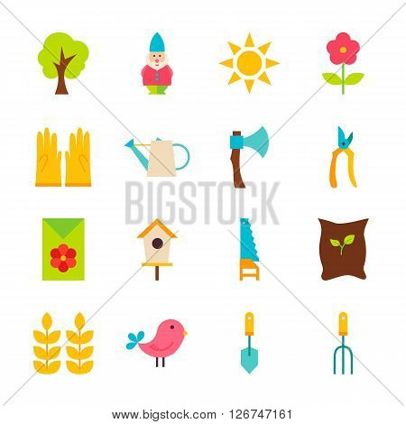 Gardening Tools Flat Objects Set Isolated Over White