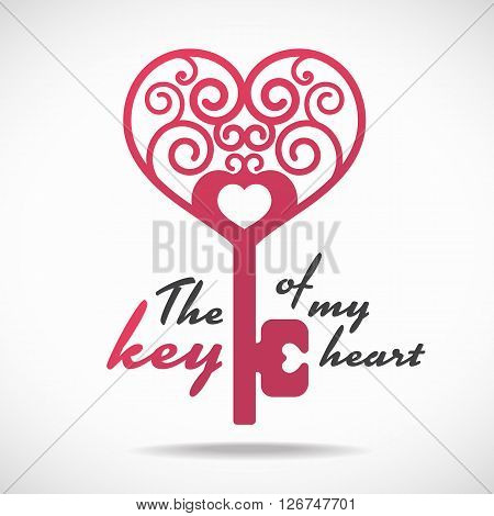 The key of my heart (pink heart key) vector design