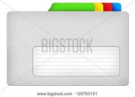Grey file folder illustration with colored bookmarks and blank area isolated over white background