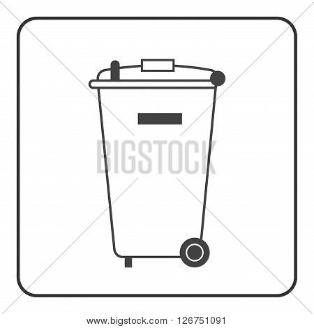 Trash bin icon. Basket wheelie litter. Container waste recycle. Symbol of garbage rubbish dump. Element label public information. Black warning sign isolated on white background. Vector illustration
