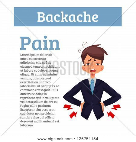 Lumbar pain in a man back pain in a human vector cartoon, color illustration with concept of disease back, violation of waist, lumbar vertebrae and intervertebral discs poster