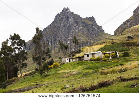 Farms and crops on slopes around Zumbahua province of Cotopaxi Ecuador
