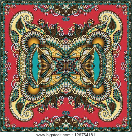 authentic silk neck scarf or kerchief square pattern design in ukrainian style for print on fabric, vector illustration poster