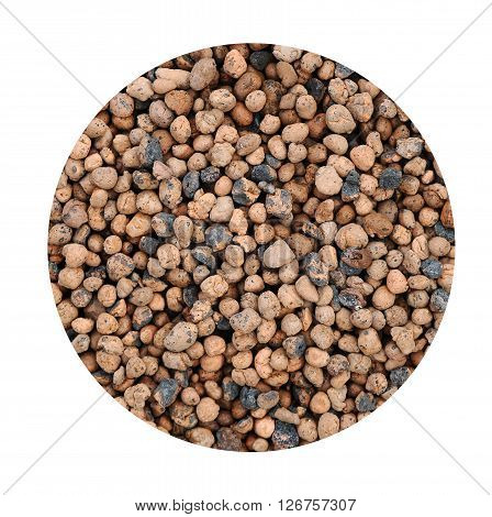 Expanded clay aggregate pattern background in circle shape