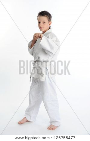 Little karate boy posing clenches his fists