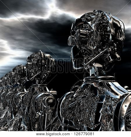 Digtal 3D Illustration of alien Robots .