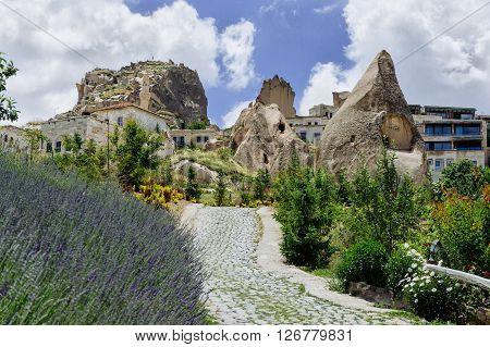 Cappadocia Goreme. Rural view of Cappadocia. Cappadocia landscape. Stone houses of Cappadocia.Sunny Goreme Cappadocia.