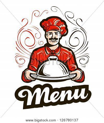 restaurant menu vector logo. cafe, diner or chef icon