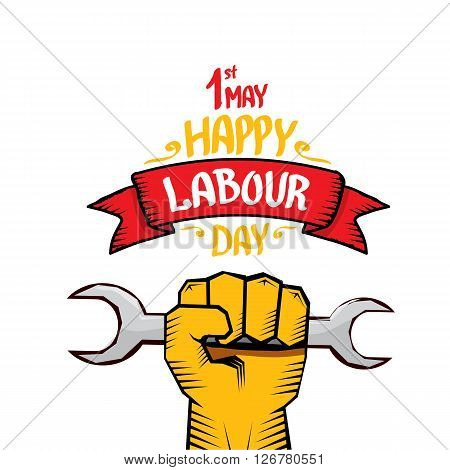 1 may - labour day. vector happy labour day poster or workers day banner poster