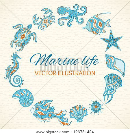 Set of cartoon sea life. Round frame of sea animals shells fish octopus crab turtle starfish sea horse jellyfish sea urchin. Vector illustration. Hand drawing marine life for your design.