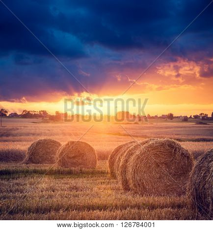 Summer Farm Scenery with Haystacks in the Field on the Background of Beautiful Sunset. Agriculture Concept. Instagram Styled Toned and Filtered Photo. Shallow Depth of Field.