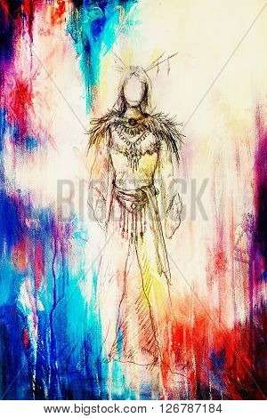 drawing of mystical indian woman in beautiful dress and color effect