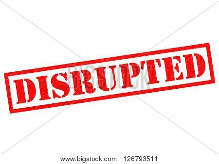 DISRUPTED red Rubber Stamp over a white background.