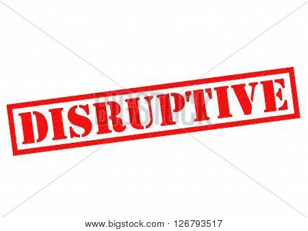 DISRUPTIVE red Rubber Stamp over a white background.