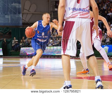 Bc Neptunas Guard Mindaugas Girdži?nas (8) Drives To The Basket
