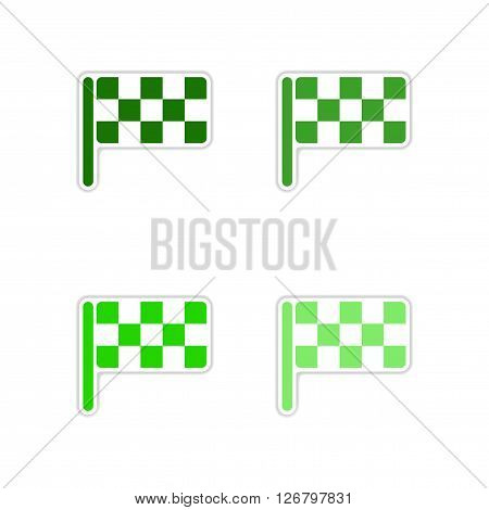 Set of paper stickers on white  background finish flag