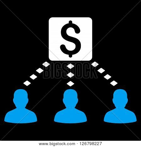 Money Recipients vector toolbar icon. Style is bicolor flat icon symbol, blue and white colors, black background, rhombus dots.
